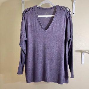 AEO Boxy Soft & Sexy Plush Top Purple Size Large